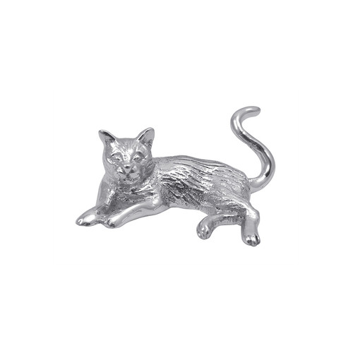 Meow! Display the loving bond with your feline friend by using our Cat Napkin Weight. Handcrafted from 100% recycled aluminum. Recycled Sandcast Aluminum DETAILS & PRODUCT CARE Item Code: 2990 Dimensions: 3in L x 1in H Product Care: Our fine metal is handcrafted from 100% recycled aluminum. All items are food-safe and will not tarnish. Handwash in warm water with mild soap and towel dry immediately. Do not place in dishwasher or microwave. Avoid extended contact with water, salty or acidic foods; coat lightly with vegetable oil or spray to easily avoid staining. Warm to 350 degerees for hot foods. Freeze or chill for summer entertaining. Cutting directly on the metal surface will scratch the finish. Occasional use of non-abrasive metal polish will revive luster.