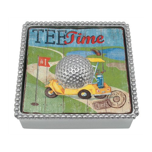 Celebrate that hole in one with a cocktail resting atop a playful plaid golf napkin printed with tees, shoes, golf balls and more. Beaded box and Golf Ball Weight complete the set. Recycled Sandcast Aluminum DETAILS & PRODUCT CARE Item Code: 2530-C Dimensions: 5.75in L x 5.75in W x 1.5in H Product Care: Our fine metal is handcrafted from 100% recycled aluminum. All items are food-safe and will not tarnish. Handwash in warm water with mild soap and towel dry immediately. Do not place in dishwasher or microwave. Avoid extended contact with water, salty or acidic foods; coat lightly with vegetable oil or spray to easily avoid staining. Warm to 350 degerees for hot foods. Freeze or chill for summer entertaining. Cutting directly on the metal surface will scratch the finish. Occasional use of non-abrasive metal polish will revive luster.