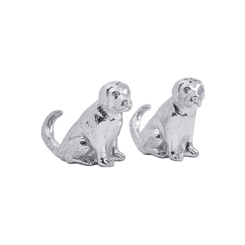 Two matching aluminum labs sit obediently holding salt and pepper. Show love and affection for your best friend (or friends) with the whimsical Lab Salt & Pepper Set. Recycled Sandcast Aluminum DETAILS & PRODUCT CARE Dimensions: 3in H Product Care: Our fine metal is handcrafted from 100% recycled aluminum. All items are food-safe and will not tarnish. Handwash in warm water with mild soap and towel dry immediately. Do not place in dishwasher or microwave. Avoid extended contact with water, salty or acidic foods; coat lightly with vegetable oil or spray to easily avoid staining. Warm to 350 degerees for hot foods. Freeze or chill for summer entertaining. Cutting directly on the metal surface will scratch the finish. Occasional use of non-abrasive metal polish will revive luster.