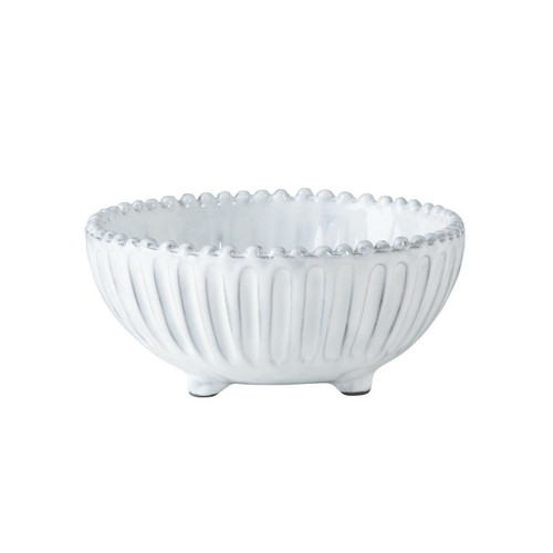 "The Incanto White Stripe Footed Bowl is a charming and irresistibly Italian piece for your table and home. 5.75""D INC-1103A"