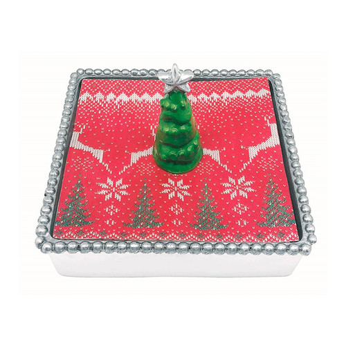 Mariposa Green 3D Beaded Napkin Box  4063-C 5.75in L x 5.75in W x 1.5in H  A Green 3D Tree shines in splendor as a striking Napkin Weight in this popular set. Set includes weight, stack of festive cocktail napkins, and a Beaded Napkin Box. Handcrafted from 100% recycled aluminum. Recycled Sandcast Aluminum