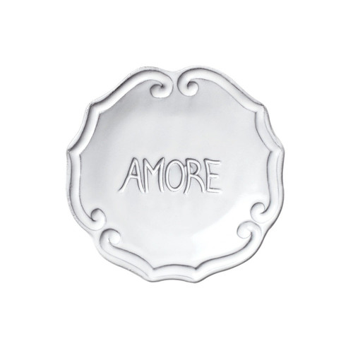 "Our Incanto White Amore Plate, handcrafted in Veneto, is a charming gift for birthdays, Valentine's Day, Mother's Day, and as a bridesmaid's present. Use it decoratively, as a jewelry plate, or as a soap dish for irresistibly Italian charm! 5""D INC-1192"