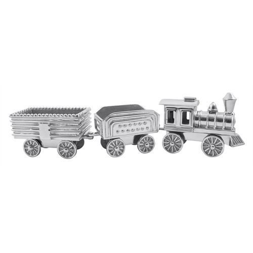 Add magic to the holidays with our stunning (and mobile!) Train Server. This handcrafted, collectible server includes the train engine and two cars all with moving wheels. Delight your holiday guests with this whimsical piece for years to come. Recycled Sandcast Aluminum DETAILS & PRODUCT CARE Dimensions: 16.75in L x 3in W x 3.5in H Product Care: Our fine metal is handcrafted from 100% recycled aluminum. All items are food-safe and will not tarnish. Handwash in warm water with mild soap and towel dry immediately. Do not place in dishwasher or microwave. Avoid extended contact with water, salty or acidic foods; coat lightly with vegetable oil or spray to easily avoid staining. Warm to 350 degerees for hot foods. Freeze or chill for summer entertaining. Cutting directly on the metal surface will scratch the finish. Occasional use of non-abrasive metal polish will revive luster.