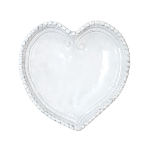 """Our beautiful Incanto White Heart Dish is a great gifting piece, and it is presented in VIETRI's signature gift box. 7""""L, 7""""W INC-1175"""