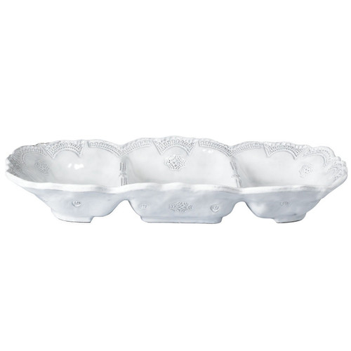 """The Incanto White Lace Medium Three Part Server is inspired by Murano lace and is handmade in Veneto from terra marrone. 14.5""""L, 8.25""""W INC-1151"""