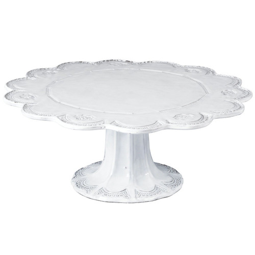 """The Incanto Lace Large Cake Stand is inspired by Murano lace and is handmade in Veneto from terra marrone. 13.5""""D, 5.5""""H INC-1173"""