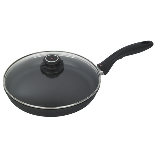 """XD Nonstick 10.25"""" Fry Pan with Lid  With superior nonstick performance, this versatile Swiss Diamond 10.25"""" Fry Pan from plumpuddingkitchen.com will become your go-to kitchen tool. Featuring the enhanced XD diamond-reinforced coating, this pan is one of the handiest tools in the kitchen."""