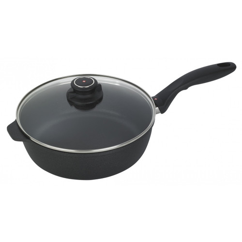 XD Nonstick  3.2 Qt Saute Pan with Lid  Ideal for cooking enthusiasts on the hunt for a versatile addition to their cookware collection, the Swiss Diamond 3.2 Qt. Sauté Pan with Lid from plumpuddingkitchen.com is guaranteed to transform your everyday cooking experience into something spectacular.