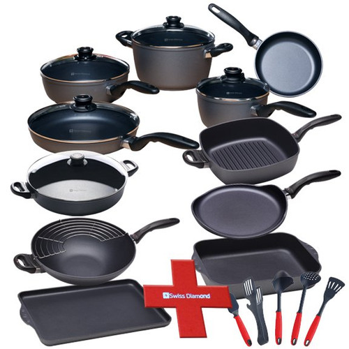"""Estate Cookware 22 Piece Set  Just built that dream kitchen and need the perfect cookware to go with it?  Look no further than the Swiss Diamond 22 Piece Estate Cookware Set.  This set has just about everything you could want in one great kitchen set.   Our patented diamond-reinforced nonstick coating promotes healthy cooking and easy cleaning, so you can enjoy more time enjoying your new kitchen and less time with your head in the sink.  The included kitchen tools will round out this complete set, while the pan protectors will make sure your investment stays perfect for a long time to come.   The set contains:  Fry Pan (8"""") - 6420 Fry Pan with lid (10.25"""") - 6426c Saute Pan with lid (9.5"""" / 3.2qt.) - 6724c Sauce Pan with lid (7"""" / 2.2qt,) - 6718c Soup Pot with lid (9.5"""" / 5.5qt.) - 6124c Large Roasting Pan (5.8qt.) - 63526 Wok with rack (12.5"""" / 5.5qt.) - 61130c Sauteuse with lid (12.5"""" / 4.5qt.) - 6632c Crepe Pan (10.25"""") - 6226 Nonstick Deep Square Grill Pan (11 x 11"""") - 66281 Double Burner Griddle - 64328 Felt Pot Protectors - SDA08 5 Piece Tool Set - SDTSET02 As with all of Swiss Diamond pots & pans, these come with an ergonomic stay cool handles, and are oven-safe to 500 degrees F.  Item #: ES009"""