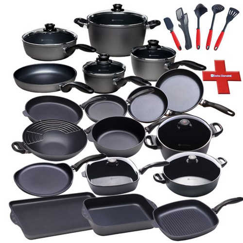 "27 Piece Cookware Suite and Tool Set  Are you looking for the cookware set that will include everything you will need for the kitchen?  Swiss Diamond's 27 Piece Cookware Suite plus Tool Set has just about everything you could want in a cookware set all packaged together.  We have packed over $700 in savings into this one set!  The legendary Swiss Diamond coating will amaze you time after time for years to come, while the included pan protectors will keep them in great shape for just as long.  Swiss Diamond's 5 piece tool set is included in this set, so all you will have to do is open some boxes and begin cooking!   The set contains:  Fry Pan (8"") - 6420 Fry Pan (9.5"") - 6424 Fry Pan with lid (10.25"") - 6426c Fry Pan (12.5"") - 6432 Saute Pan with lid (9.5"" / 3.2qt.) - 6724c Saute Pan (10.25"" / 3.8qt.) - 6726 Sauce Pan with lid (6.3"" / 1.4qt,) - 6716c Sauce Pan with lid (7"" / 2.2qt,) - 6718c Soup Pot with lid (9.5"" / 5.5qt.) - 6124c Stock Pot with lid (11"" / 8.5qt.) - 6128c Small Roasting Pan (4.8qt.) - 63225 Wok with rack (12.5"" / 5.5qt.) - 61130c Braiser with lid (12.5"" / 7.2qt.) - 6932c Crepe Pan (9.5"") - 6224 Double Burner Griddle - 64328 Square Saute Pan with lid (11"" x 11"" / 5qt.) - 66283c Square Grill Pan (11 x 11"") - 63281 Felt Pot Protectors - SDA08 5 Piece Tool Set - SDTSET02 As with all of Swiss Diamond pots & pans, these come with an ergonomic stay cool handles, and are oven-safe to 500 degrees F.   Item #: ES010"