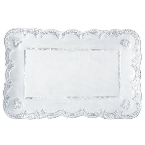 "The Incanto White Lace Small Rectangular Platter is inspired by Murano lace, and it is a beautiful serving piece or platter for trinkets on your dresser. 15.5""L, 10.25""W INC-1127"