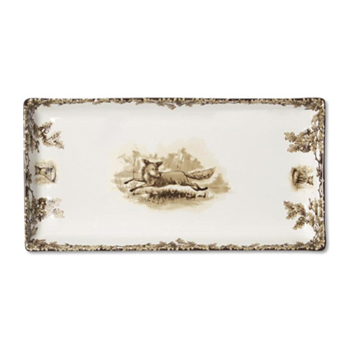 "C.E. Corey Aiken Fox Tart Tray  This timeless pattern was inspired by the fox hunting scene of Aiken, South Carolina.  Every piece in the Aiken Collection is available with either the Fox or the Hound  13"" x 6.5""  CEA-7059F"