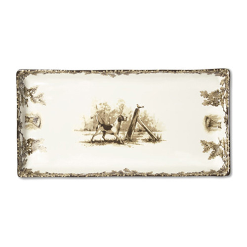 "C.E. Corey Aiken Hound Tart Tray  This timeless pattern was inspired by the fox hunting scene of Aiken, South Carolina.  Every piece in the Aiken Collection is available with either the Fox or the Hound  13"" x 6.5""  CEA-7059H"