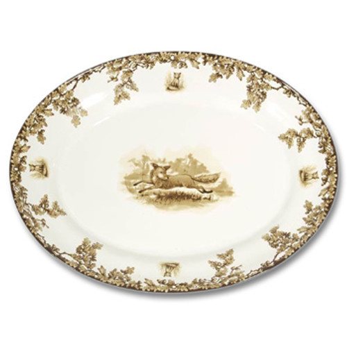 """C.E. Corey Aiken Fox Large Oval Platter  This timeless pattern was inspired by the fox hunting scene of Aiken, South Carolina and is ideal for casual or formal dining as it features beautifully detailed hunt scene with oak leaves and acorns. Microwave and dishwasher safe.  Every piece in the Aiken Collection is available with either the Fox or the Hound.  18.25""""L, 14""""W, 2.5""""H  CEA-7056F"""