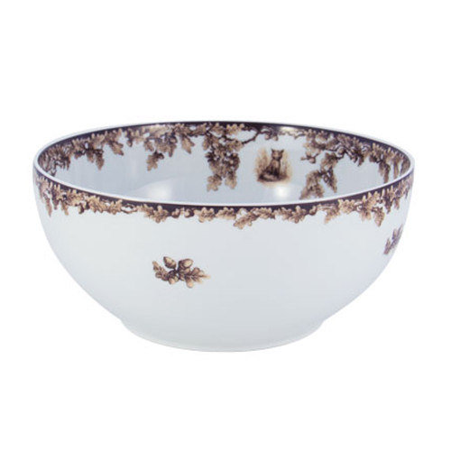 """C.E. Corey Aiken Fox Service Bowl  This timeless pattern was inspired by the fox hunting scene of Aiken, South Carolina and is ideal for casual or formal dining as it features beautifully detailed hunt scene with oak leaves and acorns. Microwave and dishwasher safe.  Every piece in the Aiken Collection is available with either the Fox or the Hound.  10"""" Diameter, 4.5""""H  CEA-7053F"""