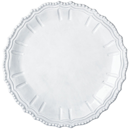 "The Incanto White Baroque Round Platter is inspired by Italian architecture and makes an elegant cheese board or cake stand. 15.75""D INC-1122"
