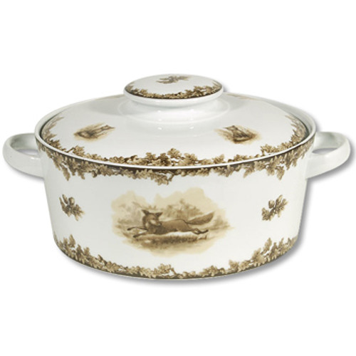 """C.E. Corey Aiken Fox Covered Casserole  This timeless pattern was inspired by the fox hunting scene of Aiken, South Carolina and is ideal for casual or formal dining as it features beautifully detailed hunt scene with oak leaves and acorns. Microwave and dishwasher safe.  Every piece in the Aiken Collection is available with either the Fox or the Hound.  9"""" Diameter, 6""""H, Dish is 3.5"""" H  CEA-7052F"""