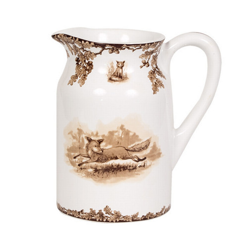 """C.E. Corey Aiken Fox Pitcher  This timeless pattern was inspired by the fox hunting scene of Aiken, South Carolina and is ideal for casual or formal dining as it features beautifully detailed hunt scene with oak leaves and acorns. Microwave and dishwasher safe.  Every piece in the Aiken Collection is available with either the Fox or the Hound.  8""""H, 5""""Diameter  CEA-7051F"""