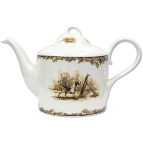 C.E. Corey Aiken Hound Tea Pot  This timeless pattern was inspired by the fox hunting scene of Aiken, South Carolina and is ideal for casual or formal dining as it features beautifully detailed hunt scene with oak leaves and acorns. Microwave and dishwasher safe.  Every piece in the Aiken Collection is available with either the Fox or the Hound.  1.3Qt  CEA-7048H