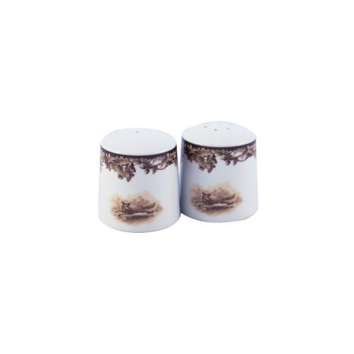 """C.E. Corey Aiken Fox Salt & Pepper Set  This timeless pattern was inspired by the fox hunting scene of Aiken, South Carolina and is ideal for casual or formal dining as it features beautifully detailed hunt scene with oak leaves and acorns. Microwave and dishwasher safe.  Every piece in the Aiken Collection is available with either the Fox or the Hound.  2.25""""H  CEA-7046F"""