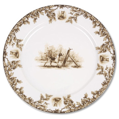 "C.E. Corey Aiken Hound 12"" Charger Plate  This timeless pattern was inspired by the fox hunting scene of Aiken, South Carolina and is ideal for casual or formal dining as it features beautifully detailed hunt scene with oak leaves and acorns. Microwave and dishwasher safe.  Every piece in the Aiken Collection is available with either the Fox or the Hound.  12"" Diameter  CEA-4040H"