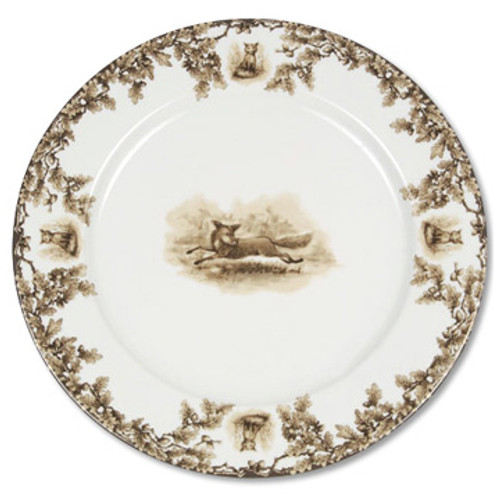 """C.E. Corey Aiken Fox 12"""" Charger Plate  This timeless pattern was inspired by the fox hunting scene of Aiken, South Carolina and is ideal for casual or formal dining as it features beautifully detailed hunt scene with oak leaves and acorns. Microwave and dishwasher safe.  Every piece in the Aiken Collection is available with either the Fox or the Hound.  12"""" Diameter  CEA-4040F"""