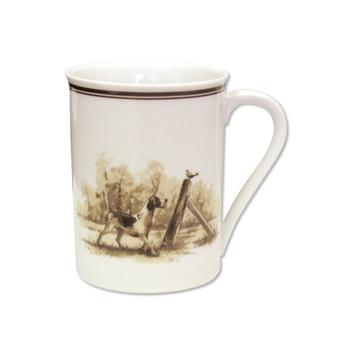 "C.E. Corey Aiken Hound Mug  This timeless pattern was inspired by the fox hunting scene of Aiken, South Carolina and is ideal for casual or formal dining as it features beautifully detailed hunt scene with oak leaves and acorns. Microwave and dishwasher safe.  Every piece in the Aiken Collection is available with either the Fox or the Hound.  10oz, 3.75""H  CEA4036H"