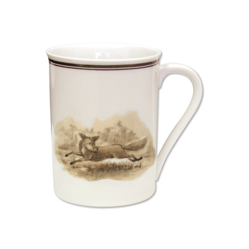 """C.E. Corey Aiken Fox Mug  This timeless pattern was inspired by the fox hunting scene of Aiken, South Carolina and is ideal for casual or formal dining as it features beautifully detailed hunt scene with oak leaves and acorns. Microwave and dishwasher safe.  Every piece in the Aiken Collection is available with either the Fox or the Hound.  10oz, 3.75""""H  CEA4036F"""