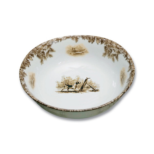 """C.E. Corey Aiken Hound Cereal Bowl  This timeless pattern was inspired by the fox hunting scene of Aiken, South Carolina and is ideal for casual or formal dining as it features beautifully detailed hunt scene with oak leaves and acorns. Microwave and dishwasher safe.  Every piece in the Aiken Collection is available with either the Fox or the Hound.  6"""" Diameter  CEA4034H"""