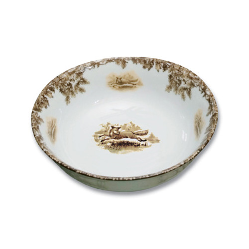 """C.E. Corey Aiken Fox Cereal Bowl  This timeless pattern was inspired by the fox hunting scene of Aiken, South Carolina and is ideal for casual or formal dining as it features beautifully detailed hunt scene with oak leaves and acorns. Microwave and dishwasher safe.  Every piece in the Aiken Collection is available with either the Fox or the Hound.  6"""" Diameter  CEA4034F"""