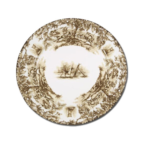 """C.E. Corey Aiken Hound Salad Plate  This timeless pattern was inspired by the fox hunting scene of Aiken, South Carolina and is ideal for casual or formal dining as it features beautifully detailed hunt scene with oak leaves and acorns. Microwave and dishwasher safe.  Every piece in the Aiken Collection is available with either the Fox or the Hound.  8.5"""" Diameter  CEA4038H"""