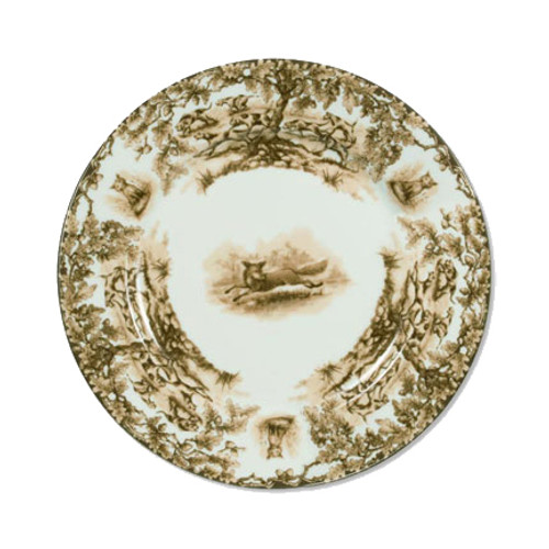 """C.E. Corey Aiken Fox Salad Plate  This timeless pattern was inspired by the fox hunting scene of Aiken, South Carolina and is ideal for casual or formal dining as it features beautifully detailed hunt scene with oak leaves and acorns. Microwave and dishwasher safe.  Every piece in the Aiken Collection is available with either the Fox or the Hound.  8.5"""" Diameter  CEA4038F"""