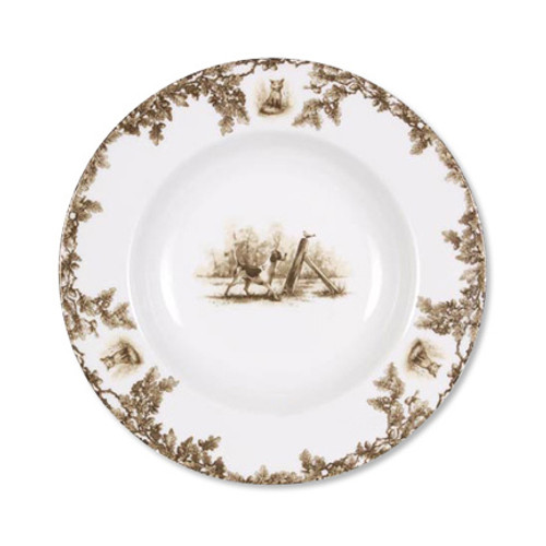 "C.E. Corey Aiken Hound Rimmed Soup Bowl  This timeless pattern was inspired by the fox hunting scene of Aiken, South Carolina and is ideal for casual or formal dining as it features beautifully detailed hunt scene with oak leaves and acorns. Microwave and dishwasher safe.  Every piece in the Aiken Collection is available with either the Fox or the Hound.  9.25"" Diameter  CEA4033H"