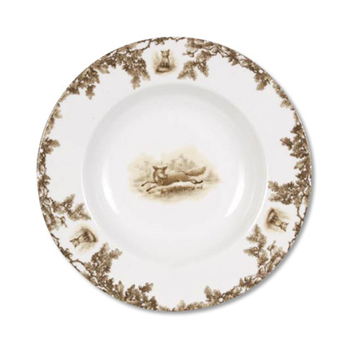 "C.E. Corey Aiken Fox Rimmed Soup Bowl  This timeless pattern was inspired by the fox hunting scene of Aiken, South Carolina and is ideal for casual or formal dining as it features beautifully detailed hunt scene with oak leaves and acorns. Microwave and dishwasher safe.  Every piece in the Aiken Collection is available with either the Fox or the Hound.  9.25"" Diameter  CEA4033F"