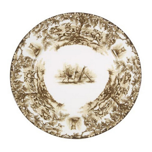 """C.E. Corey Aiken Hound Diner Plate  This timeless pattern was inspired by the fox hunting scene of Aiken, South Carolina and is ideal for casual or formal dining as it features beautifully detailed hunt scene with oak leaves and acorns. Microwave and dishwasher safe.  Every piece in the Aiken Collection is available with either the Fox or the Hound.  10.75"""" Diameter  CEA4039H"""