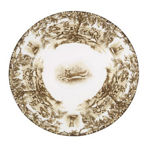 """C.E. Corey Aiken Fox Dinner Plate  This timeless pattern was inspired by the fox hunting scene of Aiken, South Carolina and is ideal for casual or formal dining as it features beautifully detailed hunt scene with oak leaves and acorns. Microwave and dishwasher safe.  Every piece in the Aiken Collection is available with either the Fox or the Hound.  10.75"""" Diameter  CEA4039F"""