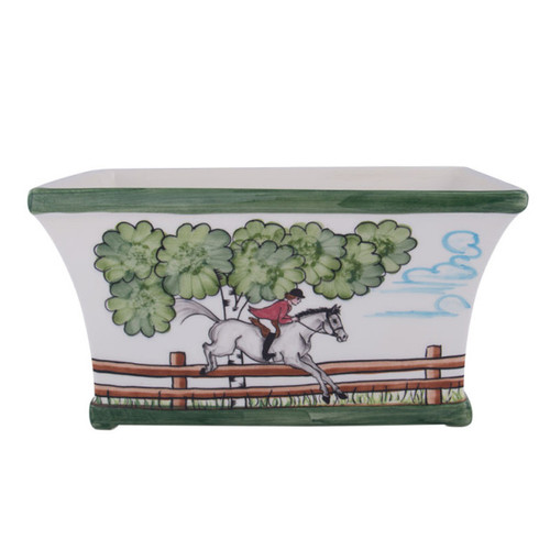 """C.E. Corey Perfect Day Planter  Clear skies and wide-open country—what a perfect day for a ride!  Complete with scalloped edges, these handmade, hand-painted hunt scenes are perfect for any horse lover.   Dishwasher and microwave safe. Made in Portugal for CE Corey.  10.75""""L, 7""""W, 6""""H  CPD4013"""