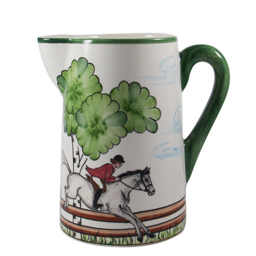 "C.E. Corey Perfect Day Pitcher  Clear skies and wide-open country—what a perfect day for a ride!  Complete with scalloped edges, these handmade, hand-painted hunt scenes are perfect for any horse lover.   Dishwasher and microwave safe. Made in Portugal for CE Corey.  8.5""H, 8""W  CPD4012"