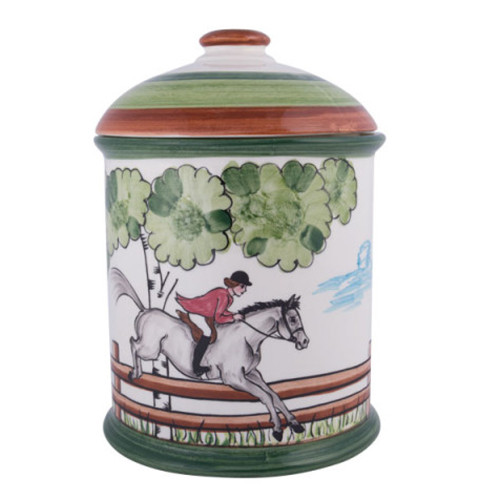 """C.E. Corey Perfect Day Canister/Cookie Jar  Clear skies and wide-open country—what a perfect day for a ride!  Complete with scalloped edges, these handmade, hand-painted hunt scenes are perfect for any horse lover.   Dishwasher and microwave safe. Made in Portugal for CE Corey.  9.5""""H, 7""""Diameter  CPD4011"""