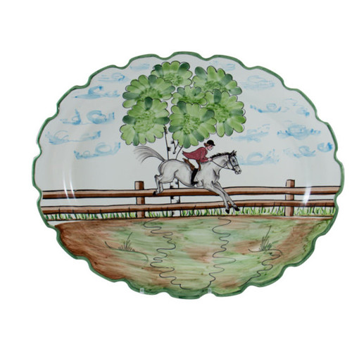 "C.E. Corey Perfect Day Large Oval Platter  Clear skies and wide-open country—what a perfect day for a ride!  Complete with scalloped edges, these handmade, hand-painted hunt scenes are perfect for any horse lover.   Dishwasher and microwave safe. Made in Portugal for CE Corey.  18""L  CPD4010"