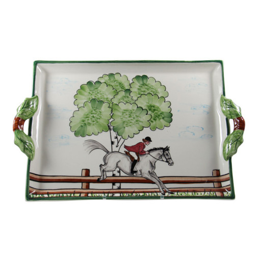 """C.E. Corey Perfect Day Handled Platter  Clear skies and wide-open country—what a perfect day for a ride!  Complete with scalloped edges, these handmade, hand-painted hunt scenes are perfect for any horse lover.   Dishwasher and microwave safe. Made in Portugal for CE Corey.  16""""L, 12""""W  CPD4009"""