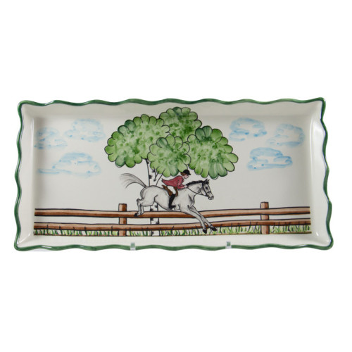 """C.E. Corey Perfect Day Tart Tray  Clear skies and wide-open country—what a perfect day for a ride!  Complete with scalloped edges, these handmade, hand-painted hunt scenes are perfect for any horse lover.   Dishwasher and microwave safe. Made in Portugal for CE Corey.  13""""L, 8""""W  CPD4008"""