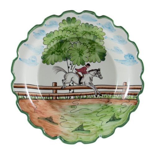 """C.E. Corey Perfect Day Large Serving Bowl  Clear skies and wide-open country—what a perfect day for a ride!  Complete with scalloped edges, these handmade, hand-painted hunt scenes are perfect for any horse lover.   Dishwasher and microwave safe. Made in Portugal for CE Corey.  14"""" Diameter, 2.5""""H  CPD4007"""