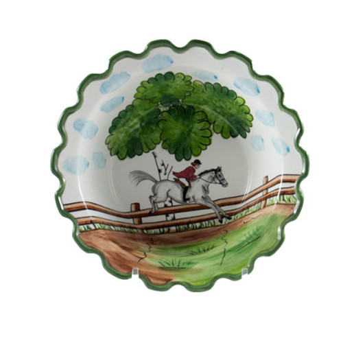 """C.E. Corey Perfect Day Serving Bowl  Clear skies and wide-open country—what a perfect day for a ride!  Complete with scalloped edges, these handmade, hand-painted hunt scenes are perfect for any horse lover.   Dishwasher and microwave safe. Made in Portugal for CE Corey.  11"""" Diameter, 3.25""""H  CPD4006"""