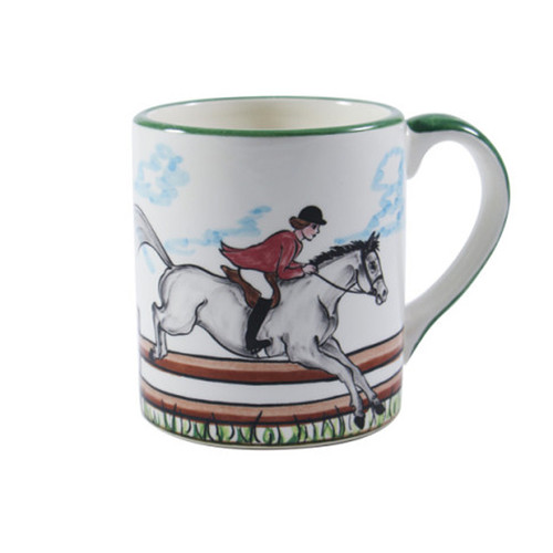 C.E. Corey Perfect Day Mug  Clear skies and wide-open country—what a perfect day for a ride!  Complete with scalloped edges, these handmade, hand-painted hunt scenes are perfect for any horse lover.   Dishwasher and microwave safe. Made in Portugal for CE Corey.  11oz  CPD4005
