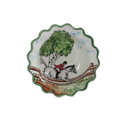 """C.E. Corey Perfect Day Cereal Bowl  Clear skies and wide-open country—what a perfect day for a ride!  Complete with scalloped edges, these handmade, hand-painted hunt scenes are perfect for any horse lover.   Dishwasher and microwave safe. Made in Portugal for CE Corey.  7""""D, 2.5""""H  CPD4004"""