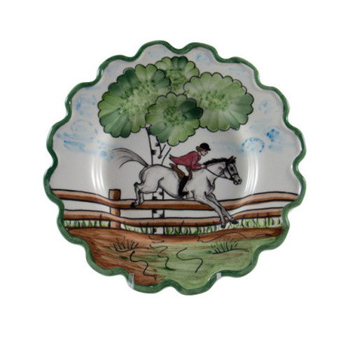 "C.E. Corey Perfect Day Salad/Dessert Plate  Clear skies and wide-open country—what a perfect day for a ride!  Complete with scalloped edges, these handmade, hand-painted hunt scenes are perfect for any horse lover.   Dishwasher and microwave safe. Made in Portugal for CE Corey.  8""Diameter  CPD4003"