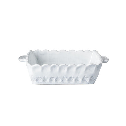 "The Incanto Collection is inspired by Italian art, architecture, and history. This Incanto White Lace Small Square Baking Dish is oven safe and handmade of terra marrone in Veneto. 11""L, 9.25""W, 2.5""H INC-1160"