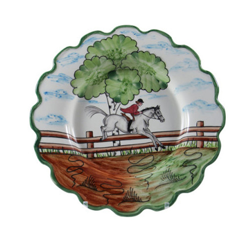 """C.E. Corey Perfect Day Dinner Plate  Clear skies and wide-open country—what a perfect day for a ride!  Complete with scalloped edges, these handmade, hand-painted hunt scenes are perfect for any horse lover.   Dishwasher and microwave safe. Made in Portugal for CE Corey.  10""""Diameter  CPD4002"""