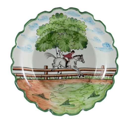 """C.E. Corey Perfect Day Charger Plate  Clear skies and wide-open country—what a perfect day for a ride!  Complete with scalloped edges, these handmade, hand-painted hunt scenes are perfect for any horse lover.   Dishwasher and microwave safe. Made in Portugal for CE Corey.  12""""Diameter  CPD4001"""
